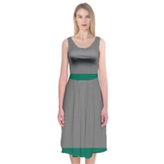 Trolley Grey Green Tropical Midi Sleeveless Dress