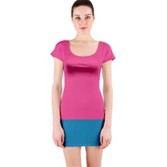 Trolley Pink Blue Tropical Short Sleeve Bodycon Dress