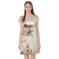 Floral Flower Star Leaf Gold Short Sleeve Skater Dress