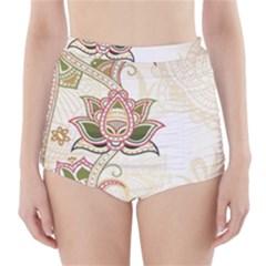 Floral Flower Star Leaf Gold High Waisted Bikini Bottoms
