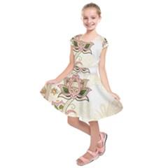 Floral Flower Star Leaf Gold Kids  Short Sleeve Dress
