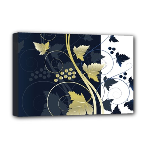 Tree Leaf Flower Circle White Blue Deluxe Canvas 18  x 12