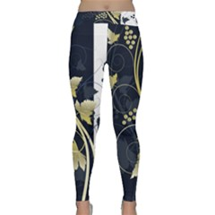 Tree Leaf Flower Circle White Blue Classic Yoga Leggings