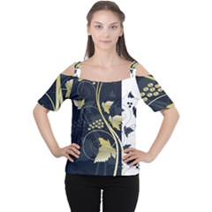 Tree Leaf Flower Circle White Blue Women s Cutout Shoulder Tee