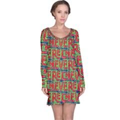 Typographic Graffiti Pattern Long Sleeve Nightdress