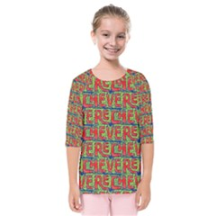Typographic Graffiti Pattern Kids  Quarter Sleeve Raglan Tee