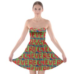 Typographic Graffiti Pattern Strapless Bra Top Dress