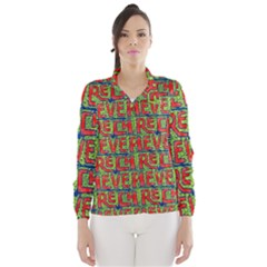 Typographic Graffiti Pattern Wind Breaker (Women)