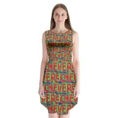 Typographic Graffiti Pattern Sleeveless Chiffon Dress
