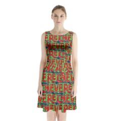 Typographic Graffiti Pattern Sleeveless Chiffon Waist Tie Dress