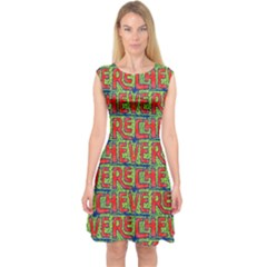 Typographic Graffiti Pattern Capsleeve Midi Dress