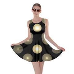 Gray Balls On Black Background Skater Dress
