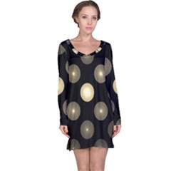 Gray Balls On Black Background Long Sleeve Nightdress
