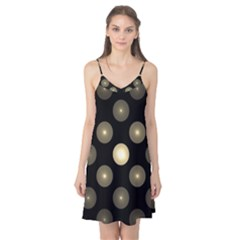 Gray Balls On Black Background Camis Nightgown