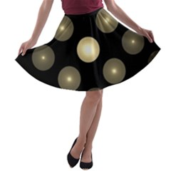 Gray Balls On Black Background A-line Skater Skirt
