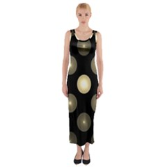 Gray Balls On Black Background Fitted Maxi Dress