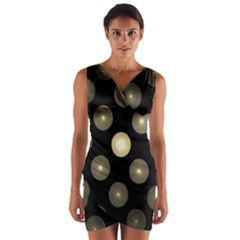 Gray Balls On Black Background Wrap Front Bodycon Dress