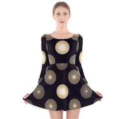 Gray Balls On Black Background Long Sleeve Velvet Skater Dress