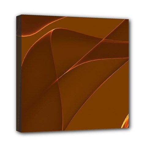 Brown Background Waves Abstract Brown Ribbon Swirling Shapes Mini Canvas 8  x 8