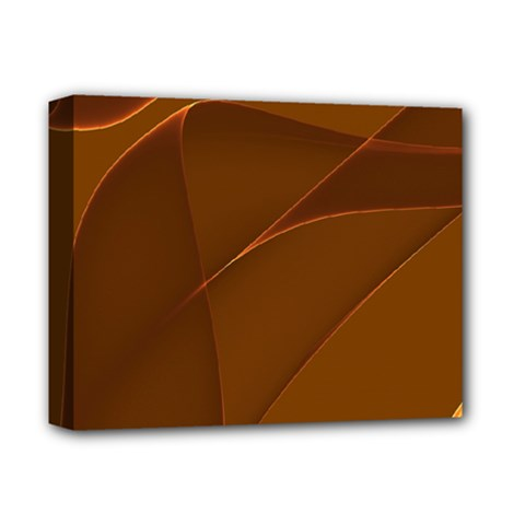 Brown Background Waves Abstract Brown Ribbon Swirling Shapes Deluxe Canvas 14  x 11