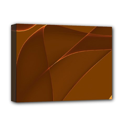 Brown Background Waves Abstract Brown Ribbon Swirling Shapes Deluxe Canvas 16  X 12