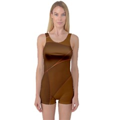 Brown Background Waves Abstract Brown Ribbon Swirling Shapes One Piece Boyleg Swimsuit