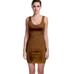 Brown Background Waves Abstract Brown Ribbon Swirling Shapes Sleeveless Bodycon Dress