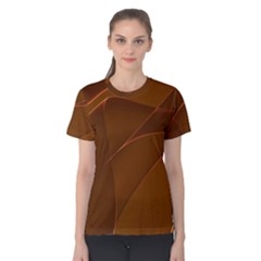 Brown Background Waves Abstract Brown Ribbon Swirling Shapes Women s Cotton Tee