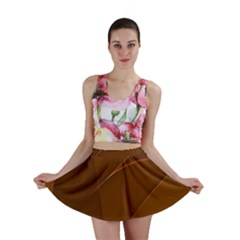 Brown Background Waves Abstract Brown Ribbon Swirling Shapes Mini Skirt