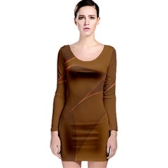 Brown Background Waves Abstract Brown Ribbon Swirling Shapes Long Sleeve Bodycon Dress