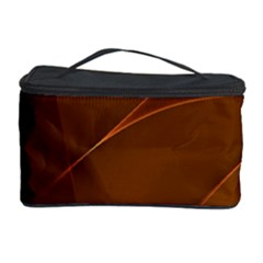 Brown Background Waves Abstract Brown Ribbon Swirling Shapes Cosmetic Storage Case
