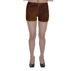 Brown Background Waves Abstract Brown Ribbon Swirling Shapes Skinny Shorts