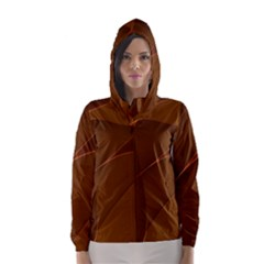 Brown Background Waves Abstract Brown Ribbon Swirling Shapes Hooded Wind Breaker (Women)