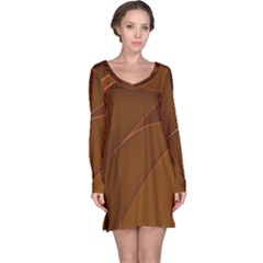 Brown Background Waves Abstract Brown Ribbon Swirling Shapes Long Sleeve Nightdress