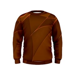 Brown Background Waves Abstract Brown Ribbon Swirling Shapes Kids  Sweatshirt