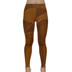 Brown Background Waves Abstract Brown Ribbon Swirling Shapes Classic Yoga Leggings
