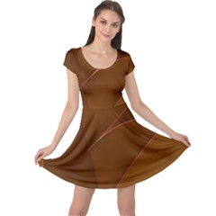 Brown Background Waves Abstract Brown Ribbon Swirling Shapes Cap Sleeve Dresses