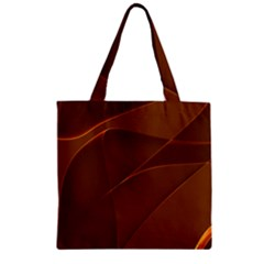 Brown Background Waves Abstract Brown Ribbon Swirling Shapes Zipper Grocery Tote Bag