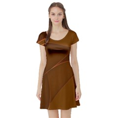 Brown Background Waves Abstract Brown Ribbon Swirling Shapes Short Sleeve Skater Dress