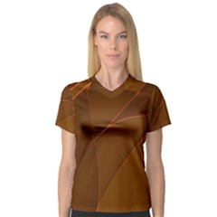 Brown Background Waves Abstract Brown Ribbon Swirling Shapes Women s V Neck Sport Mesh Tee