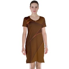 Brown Background Waves Abstract Brown Ribbon Swirling Shapes Short Sleeve Nightdress