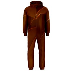 Brown Background Waves Abstract Brown Ribbon Swirling Shapes Hooded Jumpsuit (Men)