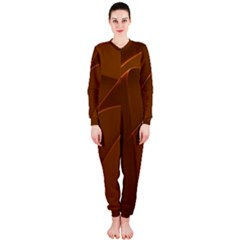 Brown Background Waves Abstract Brown Ribbon Swirling Shapes OnePiece Jumpsuit (Ladies)