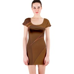 Brown Background Waves Abstract Brown Ribbon Swirling Shapes Short Sleeve Bodycon Dress
