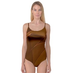 Brown Background Waves Abstract Brown Ribbon Swirling Shapes Camisole Leotard