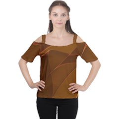 Brown Background Waves Abstract Brown Ribbon Swirling Shapes Women s Cutout Shoulder Tee