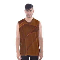 Brown Background Waves Abstract Brown Ribbon Swirling Shapes Men s Basketball Tank Top