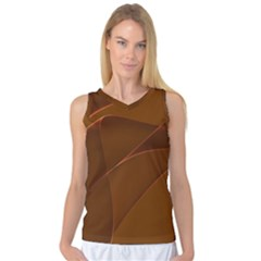 Brown Background Waves Abstract Brown Ribbon Swirling Shapes Women s Basketball Tank Top