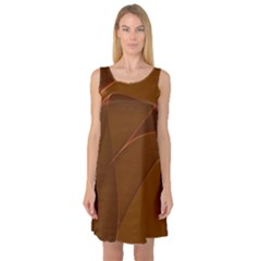 Brown Background Waves Abstract Brown Ribbon Swirling Shapes Sleeveless Satin Nightdress