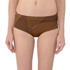 Brown Background Waves Abstract Brown Ribbon Swirling Shapes Mid-Waist Bikini Bottoms